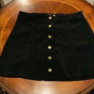 NWT Black Corduroy button up skirt!